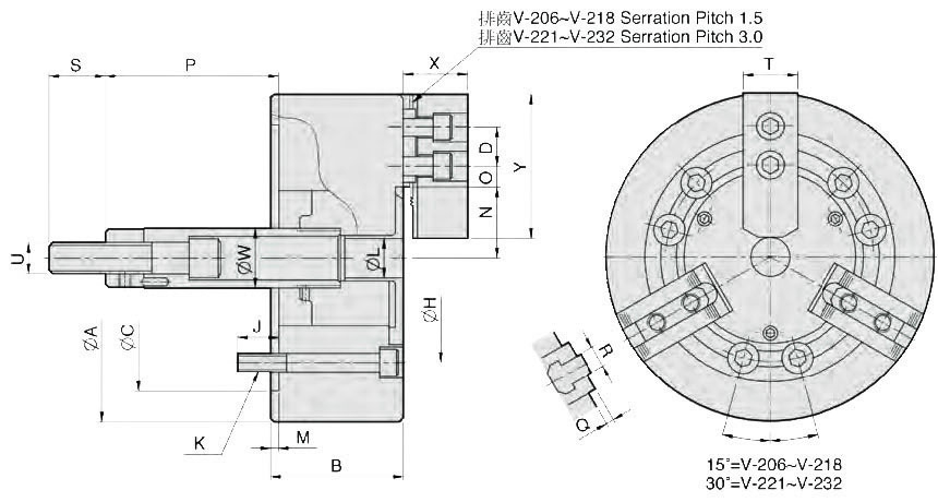 Смотреть фото №1 для 3-х кулачковый клиновой зажимной патрон без проходного отверстия V-206 / D=165