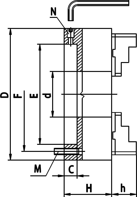 Смотреть фото №1 для Патрон токарный 6 кулачковый D=160 mm - STEEL-ZE-8653-160