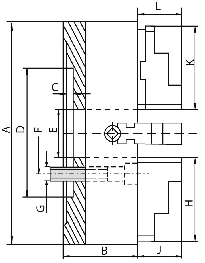 Смотреть фото №1 для Токарный патрон c независимыми кулачками, D=100 mm, cyl. - CAST IRON-ZE-4100-100